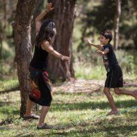 Treva and Sequoia slack lining