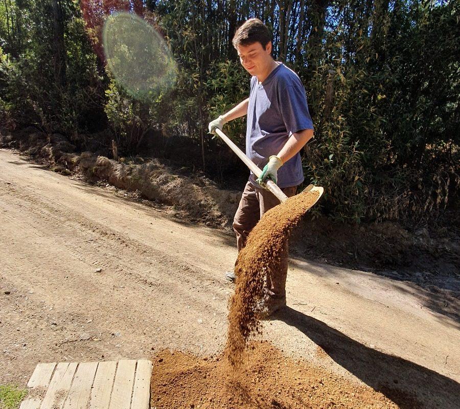 road work at Huon Bush Retreats