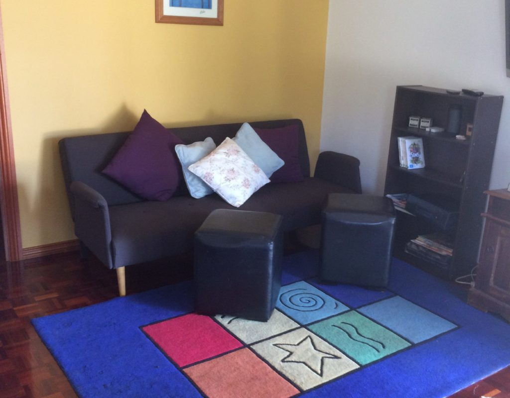 Your sitting area, TV, playstation wii, DVDs